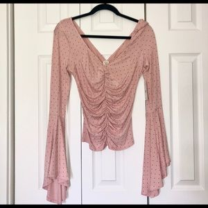 Free people ruched bell sleeve top - NWT